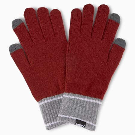 Knitted Gloves, Intense Red-Medium Gray Heather, small