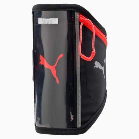 Running iPhone Arm Pocket, Puma Black-Red Blast, small-IND
