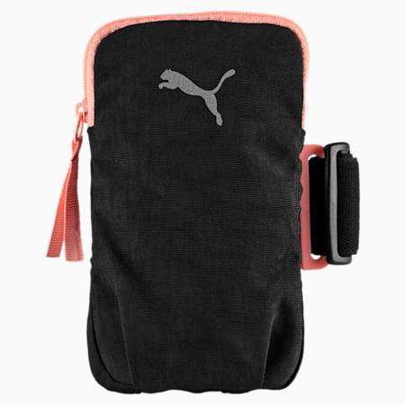 Running Women's Arm Pocket, Puma Black-Soft Fluo Peach, small-IND