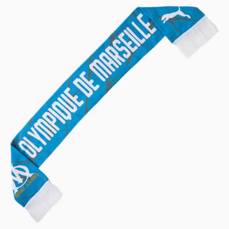 Szalik kibica Olympique de Marseille, Bleu Azur-Puma White, small