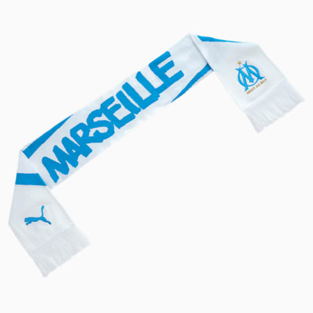 Olympique de Marseille Football Fan Scarf, Puma White-Bleu Azur, small