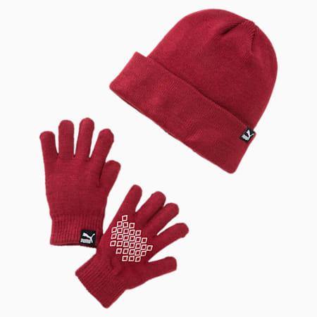 Originals Kids' Beanie and Gloves Set, Pomegranate, small
