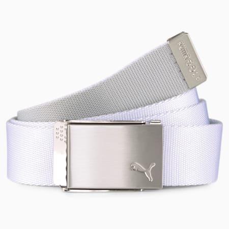 Reversible Webbing Men's Golf Belt, Bright White, small