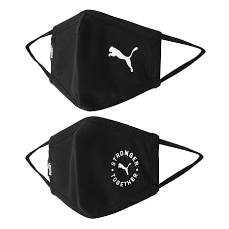 PUMA Face Mask Set of Two, Puma Black-Cat, small-IND