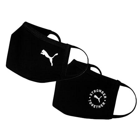 PUMA Cotton Face Mask 2-Pack, Puma Black-Cat, small-SEA