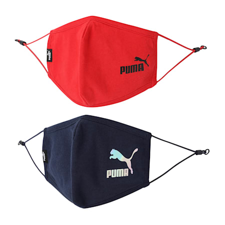 PUMA Adjustable Face Mask Set of Two, High Risk Red-Peacoat, small-IND