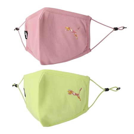 PUMA Adjustable Face Mask Set of Two, Sunny Lime-Foxglove, small-IND