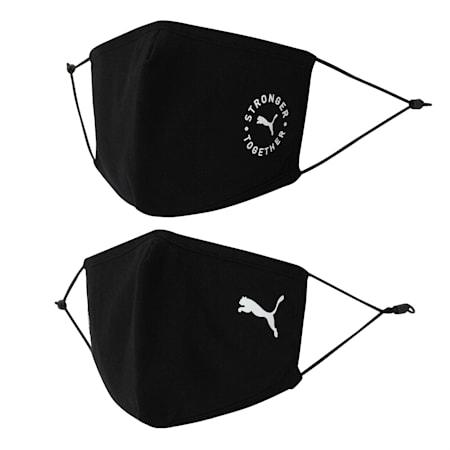 PUMA Adjustable Face Mask Set of Two, Puma Black-Puma Black, small-IND