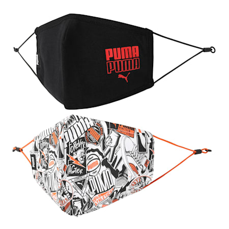 PUMA Adjustable Face Mask Set of Two, Firecracker-AOP-Puma Black, small-IND