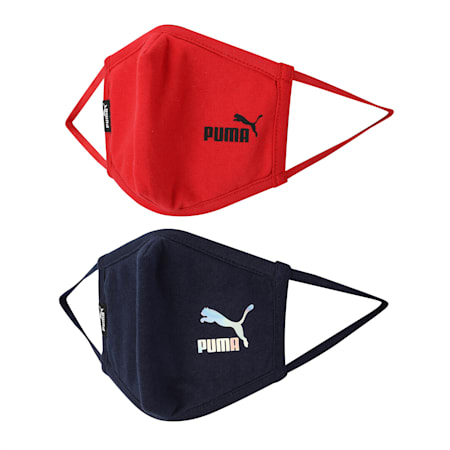 PUMA Youth Face Masks Set of Two, High Risk Red-Peacoat, small-SEA
