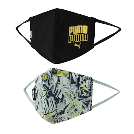 PUMA Kid's (7-12 years) Face Mask Set of Two, Mist Green-AOP-Puma Black, small-IND