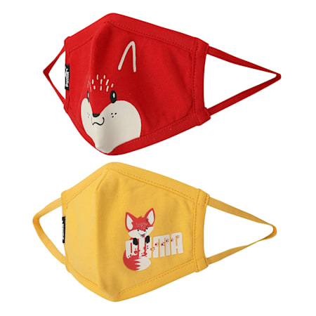 PUMA Kid's (4-6 years) Graphic Printed Face Mask Set of Two, Spectra Yellow-High Risk Red, small-IND