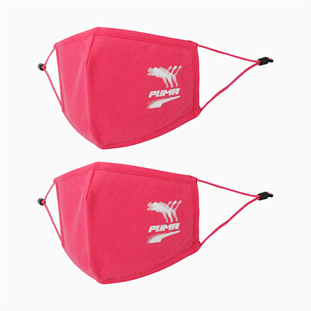 PUMA Adjustable Face Mask Set of Two, Glowing Pink-pretty pink, small-IND
