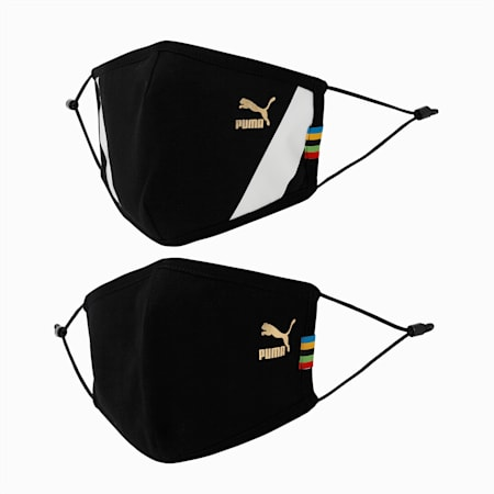 PUMA Adjustable Face Mask Set of Two, Puma Black-unity collection, small-IND