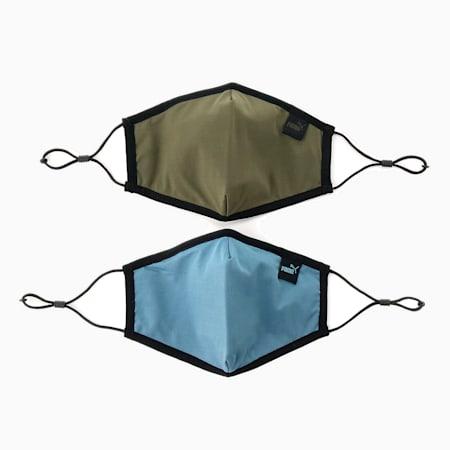 Masque PUMA Core pour le visage(ensemble de 2), Feuille de vigne-Bleu de Chine, petit