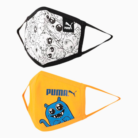 PUMA Monster Pack Kid's (7-12 Years) Face Mask- Set of Two, Puma Black-Zinnia-Monster, small-IND