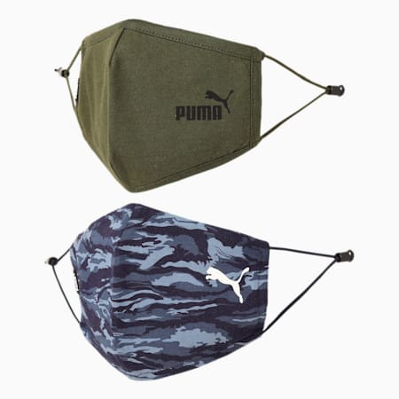 PUMA Adjustable Camouflage Face Mask for Adult- Set of Two, Forest Night-Peacoat-camo, small-IND