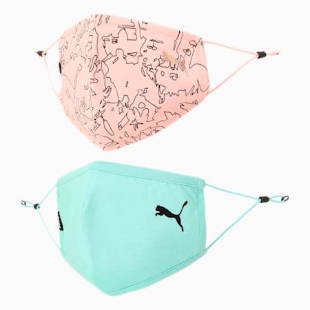 PUMA Adjustable Topo AOP Face Mask for Adult- Set of Two, Elektro Pool-Bridal Rose-AOP, small-IND