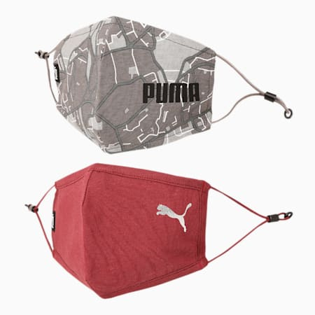 PUMA Adjustable Topo AOP Face Mask for Adult- Set of Two, Cordovan-Vaporous Gray-AOP, small-IND