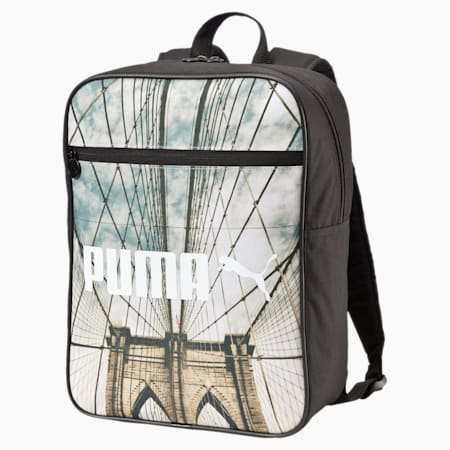 Campus Backpack, Puma Black-bridge graphic, small-IND