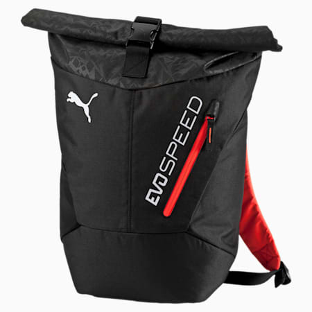 evoSPEED Backpack, Puma Black-Red Blast, small-IND
