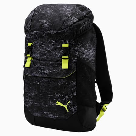 Training Daily Backpack, Puma Black-Yellow-graphic, small