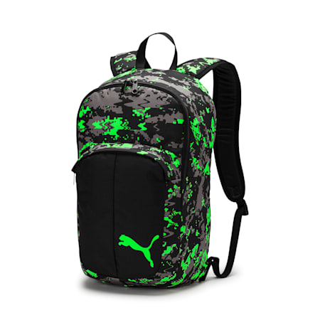 Football Pro Training II Backpack, Black-Gray-Green Gecko, small-IND