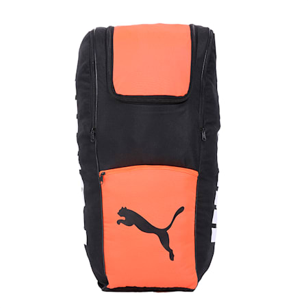 evoSPEED Cricket Backpack, Puma Black-Fiery Coral, small-IND