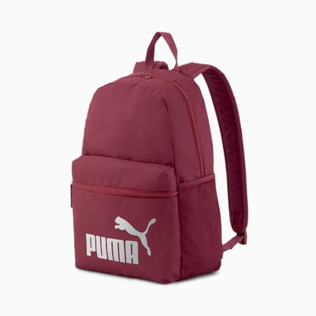 Phase Backpack, Burgundy-Silver logo, small