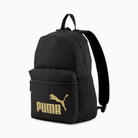 Phase Backpack, Puma Black-Golden logo, small