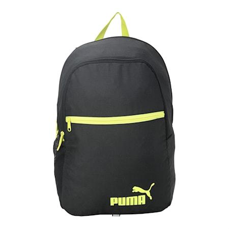 Puma Basic Backpack, Puma Black-NRGY Yellow, small-IND