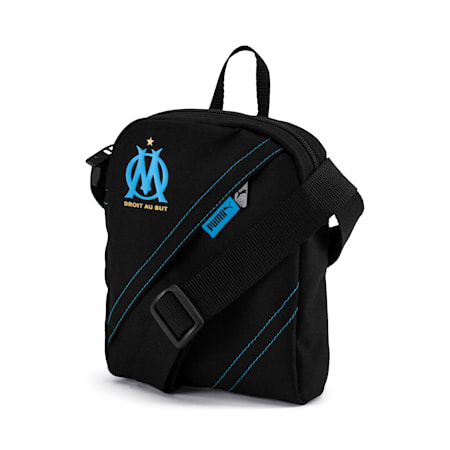 Olympique de Marseille City Shoulder Bag, Puma Black-AZURE BLUE, small-IND