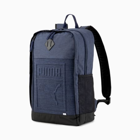 Square Backpack, Peacoat-Heather, small-SEA