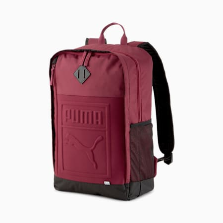 Square Backpack, Burgundy, small
