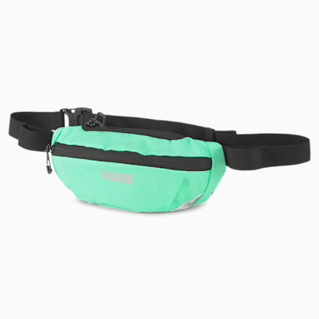 Classic Running Waist Bag, Puma Black-Green Glimmer, small