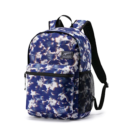 PUMA Academy Backpack, Blue Glimmer-Blurry AOP, small