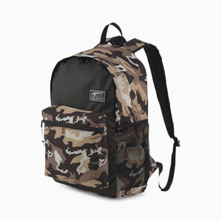 Academy Backpack, Puma Black-Pebble-Stampa camouflage su tutta la superficie, small