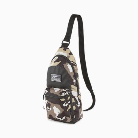 Academy Crossbody Backpack, Puma Black-Pebble-Camo AOP, small-SEA