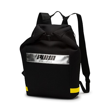 Women's Street Rolltop Backpack, Puma Black-Blazing Yellow, small-IND