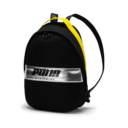 Women's Street Backpack, Puma Black-Blazing Yellow, small-IND