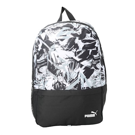 PUMA BTS Backpack Set II, Black-White-Brush AOP, small-IND