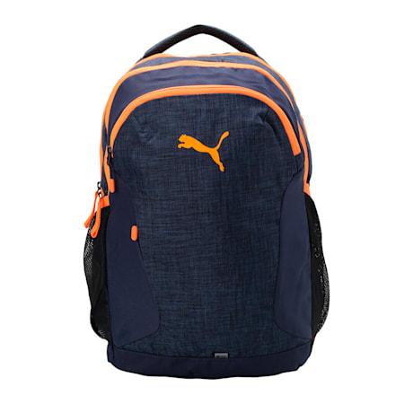 PUMA Pro Backpack, Peacoat-Shocking Orange, small-IND