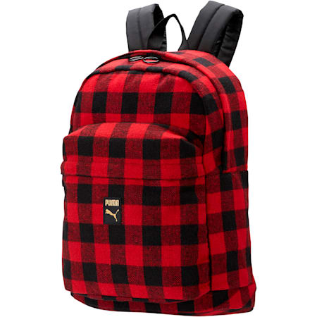 Check Backpack, Puma Black-Ribbon Red-check, small