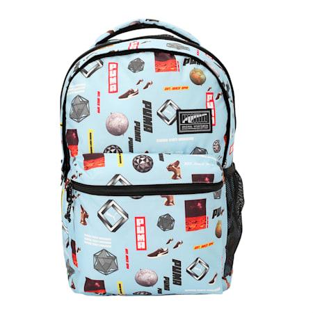PUMA Academy Backpack, Light Sky-Logo AOP, small-IND