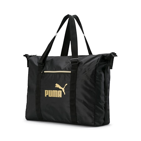 Women's Seasonal Duffel Bag, Puma Black-Gold, small-IND