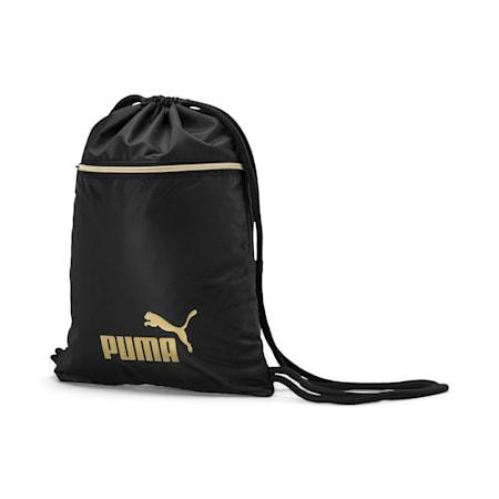 Women's Seasonal Gym Sack, Puma Black-Gold, small-IND