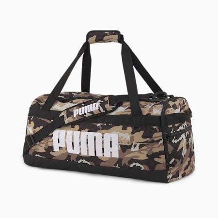 PUMA Challenger Medium Duffel Bag, Puma Black-Pebble-Camo AOP, small-IND