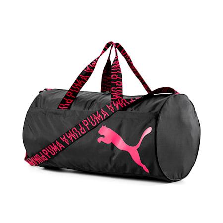 トレーニング AT エッセンシャル ウィメンズ バレル バッグ 30L, Puma Black-Pink Alert-AOP, small-JPN
