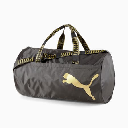 AT ESS Women's Training Duffel Bag, Puma Black-Metallic Gold, small-IND