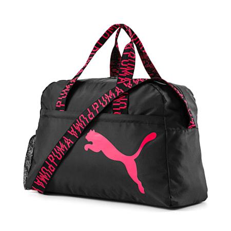 トレーニング AT エッセンシャル ウィメンズ グリップ ダッフル バッグ 30L, Puma Black-Pink Alert-AOP, small-JPN